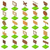 Signboard Icons Set. Isometric Set Of 25 Signboard Vector Icons For Web Isolated On White Background poster