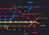 Train Rail Tracks, Railroad Infographic Template. Railway Tracks In Directions. Colorful Tracks Goin poster