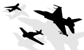 stock photo of fighter plane  - Black silhouettes of aircrafts on white background - JPG