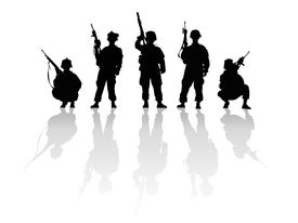 stock photo of girls guns  - Various tipes of black and white silhouettes - JPG