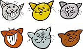 Cartoon Funny Cats Heads Set