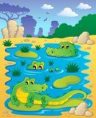 pic of crocodilian  - Image with crocodile theme 2  - JPG