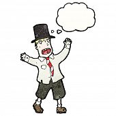 stock photo of hobo  - cartoon hobo man in top hat with thought bubble - JPG