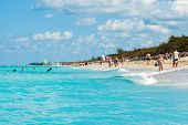 VARADERO,CUBA-NOVEMBER 4:Beautiful day at the beach November 4,2012 in Varadero.More than 40% of the