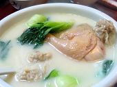 picture of wanton  - chicken soup with wanton and bok choy - JPG
