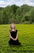 stock photo of hay fever  - Beautiful little girl with a cold hay fever or allergies sneezing - JPG