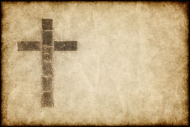 image of christian cross  - great image of a christian cross on parchment paper - JPG