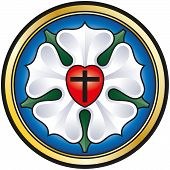 stock photo of evangelism  - Colorized illustration of the Luther seal - JPG