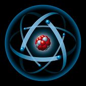 picture of neutrons  - Illustration of an atom with blue electron shell - JPG