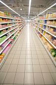 picture of grocery store  - Wide perspective of empty supermarket aisle and lights - JPG