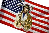 pic of peace-pipe  - American flag with an image of a Native American Indian holding a peace pipe - JPG