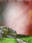 picture of stairway to heaven  - stairway in a fatasy landscape with grass - JPG