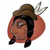 Постер, плакат: забавный мультяшный индеец с шляпу и перья