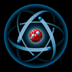 image of neutron  - Illustration of an atom with blue electron shell - JPG