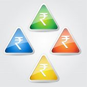 Indian Rupee Sign Rounded Vector Button Icon Set