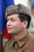 KIEV, UKRAINE -NOV 3: An unidentified member of Red Star history club wears historical CZECH uniform