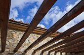 stock photo of pergola  - Wooden pergola bult in a rural farm in the tuscany countryside - JPG