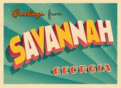 Vintage Touristic Greeting Card - Savannah, Georgia - Vector EPS10. Grunge effects can be easily rem
