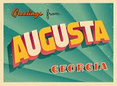 Vintage Touristic Greeting Card - Augusta, Georgia - Vector EPS10. Grunge effects can be easily remo