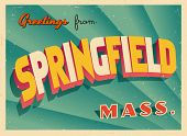 Vintage Touristic Greeting Card - Springfield, Massachusetts - Vector EPS10. Grunge effects can be e