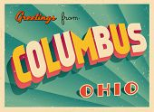 Vintage Touristic Greeting Card - Columbus, Ohio - Vector EPS10. Grunge effects can be easily remove