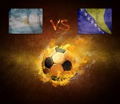 Hot soccer ball in fires flame, friendly game beetwin Argentina and Bosnia and Herzegovina