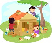 stock photo of playmates  - Illustration of Kids Building a Play House Together - JPG