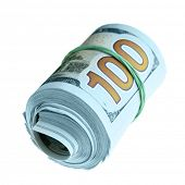 Roll of new hundred dollar bills isolated over the white background