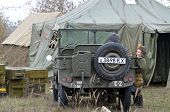 Kiev, Ukraine - November 1: Soviet  historical military transport is displayed on the Field of Battl