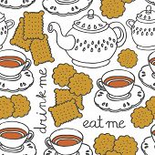 "picture of eat me  - ""eat me drink me"" tea and cookies sweet seamless pattern on white - JPG"