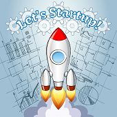 picture of start over  - New Project ideas concept with a cartoon vector rocket turbo boosting into space over a blueprint or diagram of a planned new innovative business project depicting the launch of a new idea - JPG