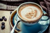 picture of chocolate spoon  - Cup of espresso with coffee beans - JPG
