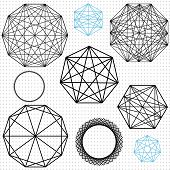 pic of dodecahedron  - A set of linear geometric polygon designs - JPG