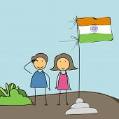 stock photo of indian independence day  - Cute little boy and girl saluting to Indian National Flag on national flag background for 15th of August - JPG