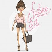 foto of outfits  - Fashion girl in stylish outfit - JPG
