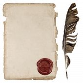 picture of wax seal  - aged paper sheet with wax seal and ink feather pen isolated on white background - JPG