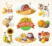 pic of combine  - Set of illustrations with farm fresh products and animals - JPG