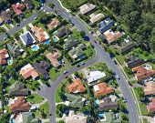 image of middle class  - Aerial view of australian suburb with homes