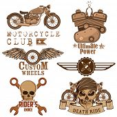 stock photo of motorcycle  - illustration of vintage motorcycle design element with skull - JPG