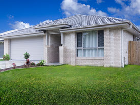 image of duplex  - New australian suburban townhouse front with green lawn - JPG