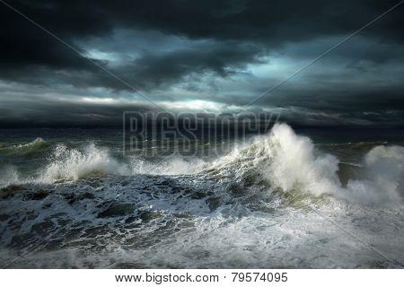 View of storm seascape, View of storm seascape