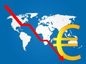 foto of crisis  - Euro currency sign over the representation of a global crisis - JPG