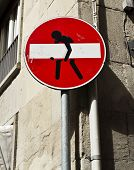 image of no entry  - A funny No Entry Sign on a street in Florence Italy - JPG
