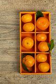 stock photo of mandarin orange  - Tangerines or Mandarin orange in the orange box - JPG