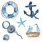 image of sailing-ship  - Nautical elements hand drawn in watercolor - JPG