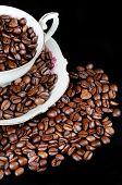 picture of coffee coffee plant  - Still life of coffee coffee cup with coffee beans - JPG