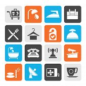 picture of motel  - Silhouette Hotel and motel icons  - JPG
