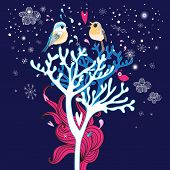 pic of enamored  - Christmas card with enamored birds in the trees on a blue background with snowflakes - JPG