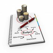 pic of budget  - Budget concept illustration design over a notebook - JPG