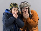 picture of shivering  - Father and Son Shiver with Cold - JPG